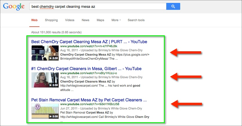 1st page of google for carpet cleaning company