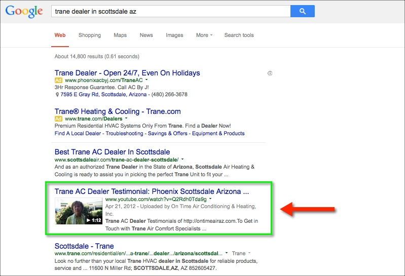 1st page of google for hvac company testimonial