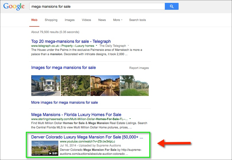 1st page of google for luxury real estate company