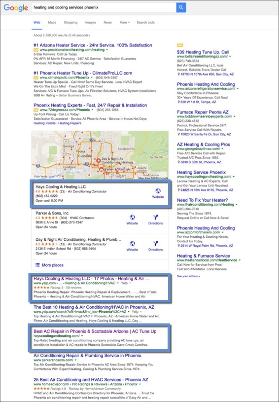 Search Engine Optimization for HVAC Company