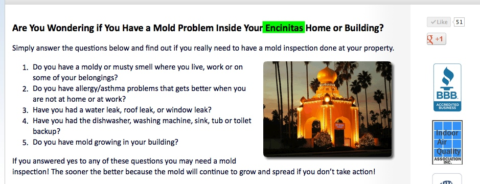 SEO Optimized Local Website Service Page for Encinitas Mold Inspection Company