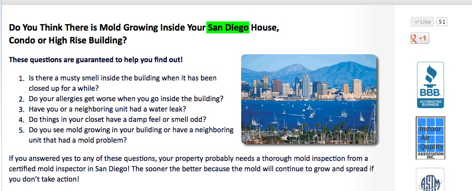 SEO Optimized Local Website Service Pages for Mold Inspection Company