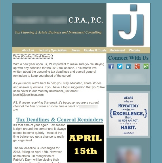 accounting company custom email newsletter marketing design