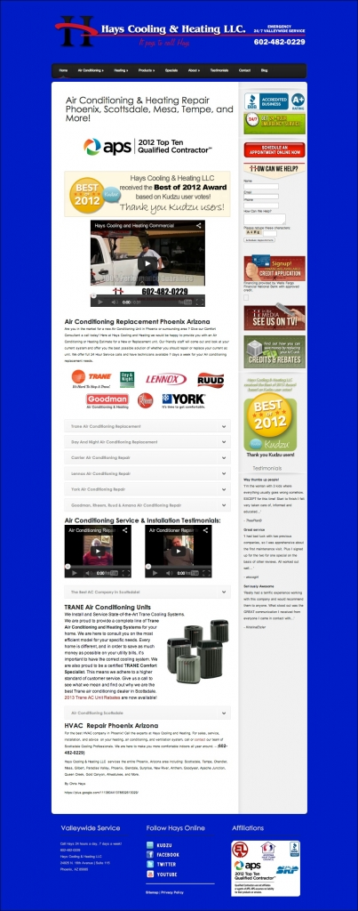 Hays Cooling & Heating Non-Responsive Website Before Redesign