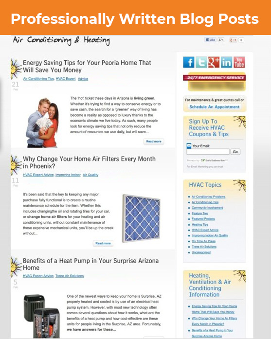 heating and cooling content marketing