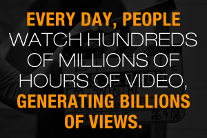 Every day, people watch hundreds of millions of hours of video, generating billions of views.