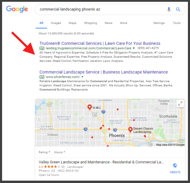 top of google placement for contractors