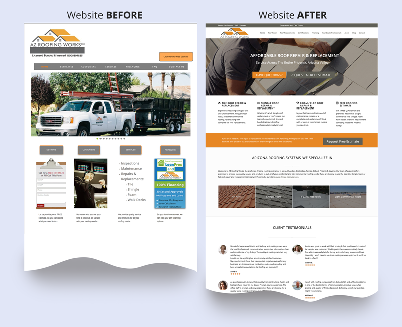 Re-Work the Website before-after