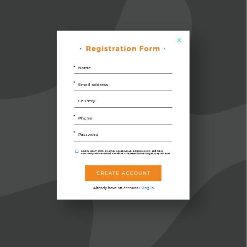 registration form on website