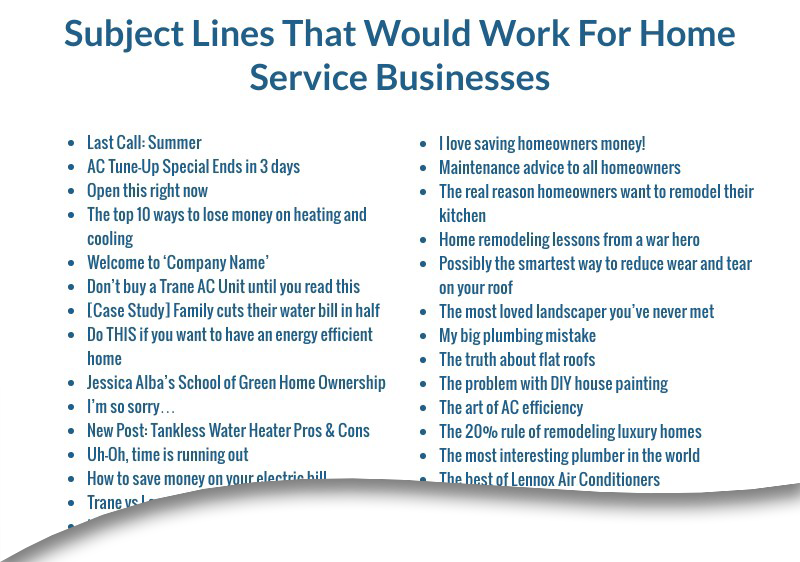 sample subject lines for home service businesses