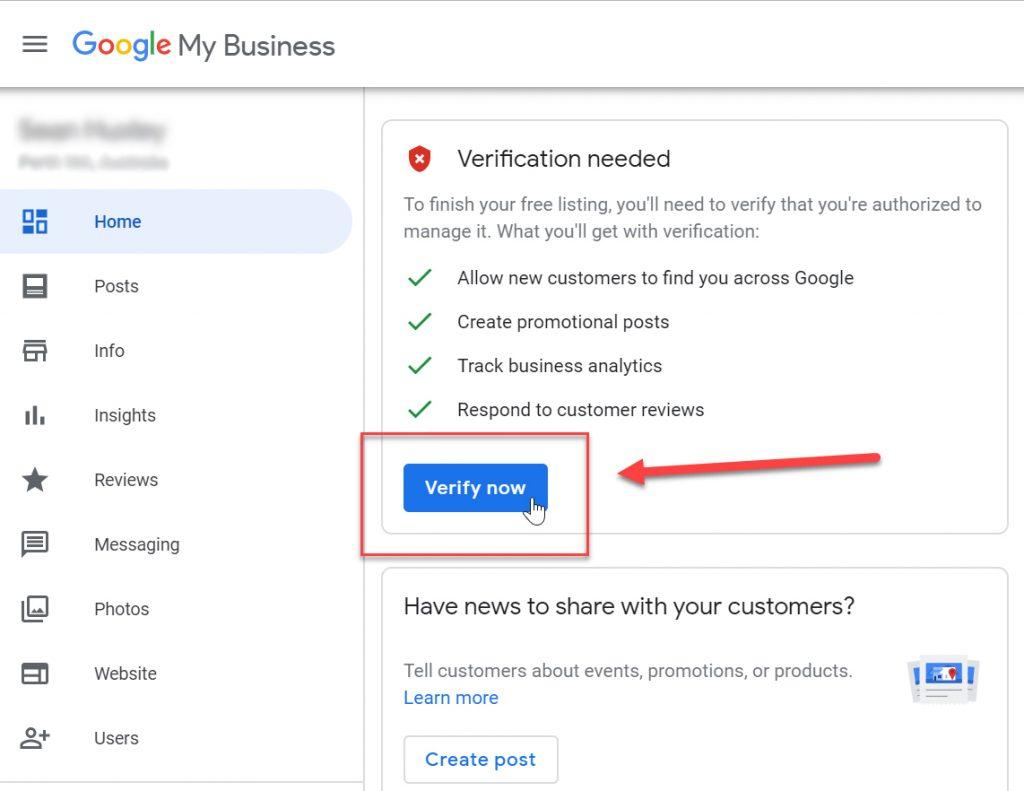 Google My Business Verification Button