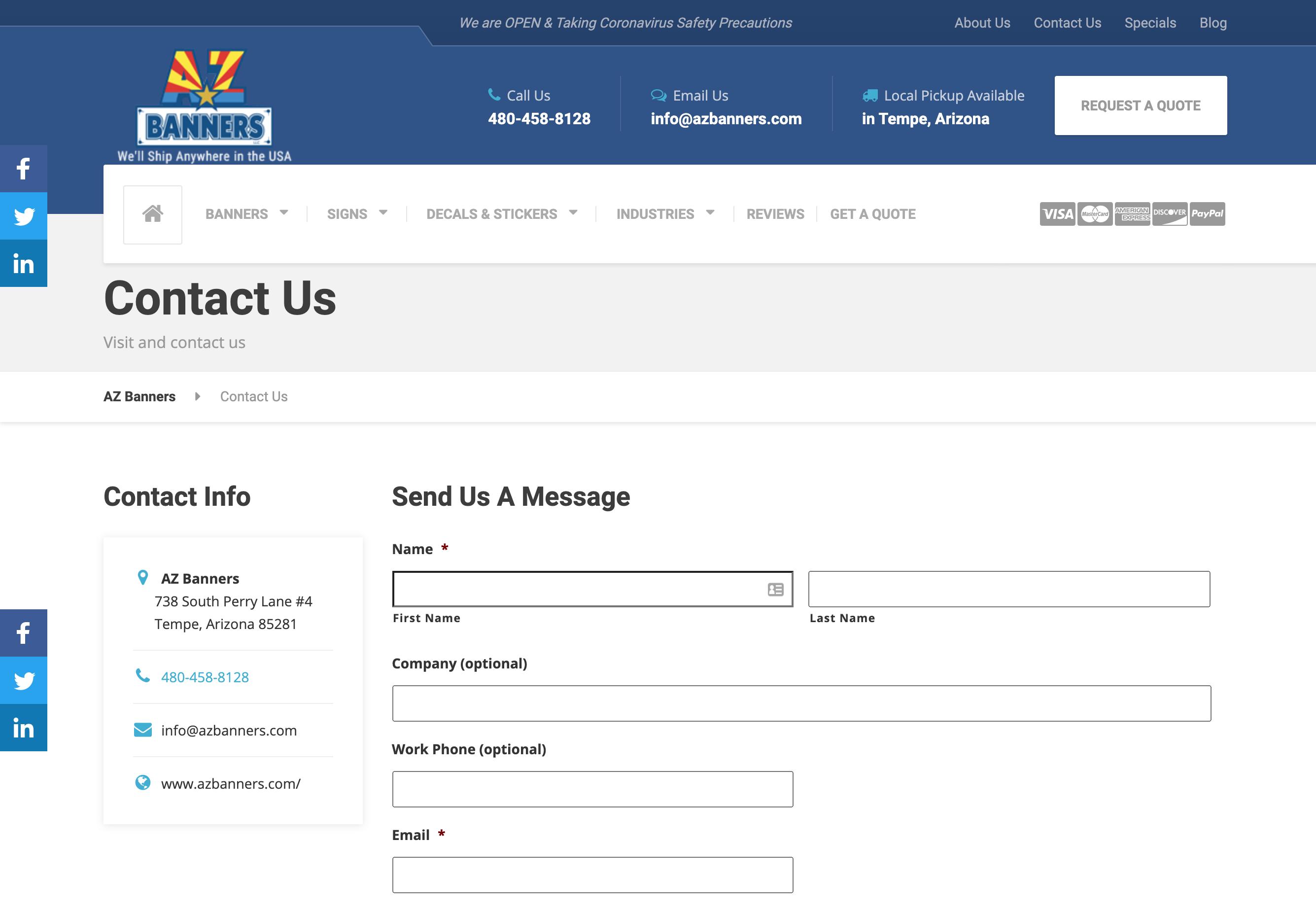 website contact form
